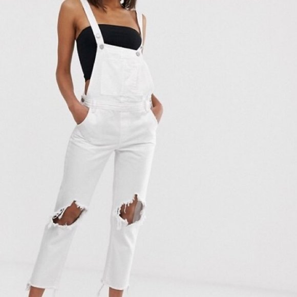 Blank NYC Long Overalls White Distressed Denim 26
